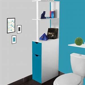 Petit Meuble Pour Wc : meuble wc tag re bois gain de place pour toilette 2 portes bleues ~ Teatrodelosmanantiales.com Idées de Décoration