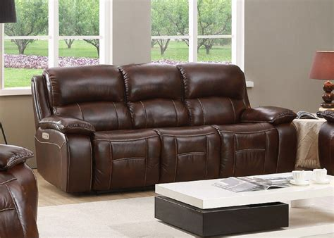 Leather Power Reclining Sofa by Westminster Genuine Leather Power Reclining Sofa With