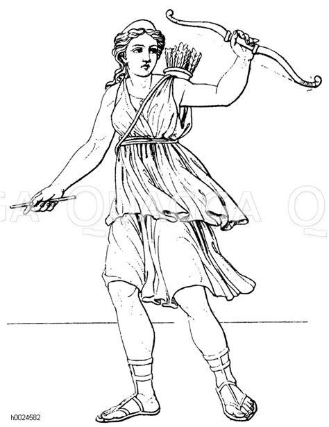 griechenland diana goettin der jagd quagga illustrations
