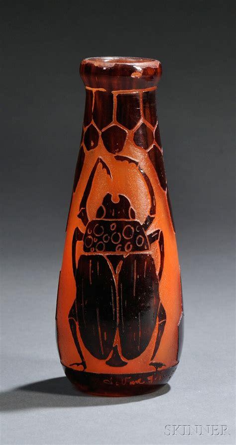 le verre francais le le verre francais scarab e cameo glass vase bidsquare