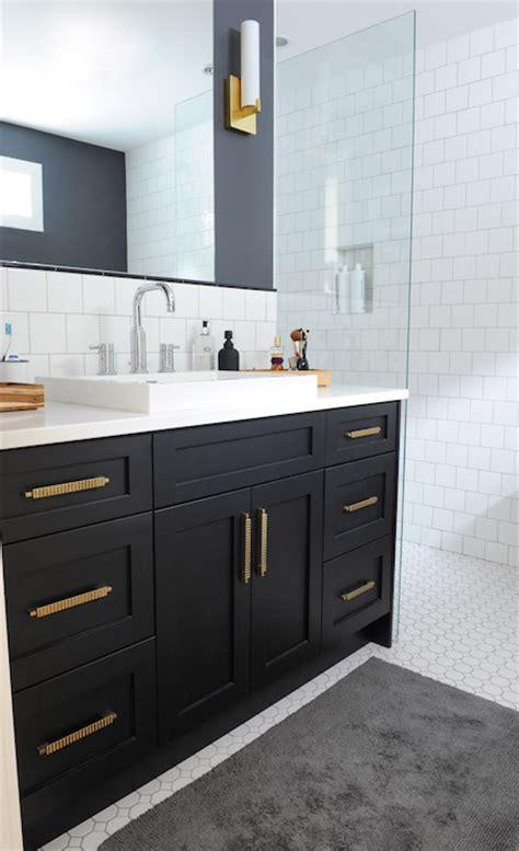 black bathroom vanity  gold hardware vintage