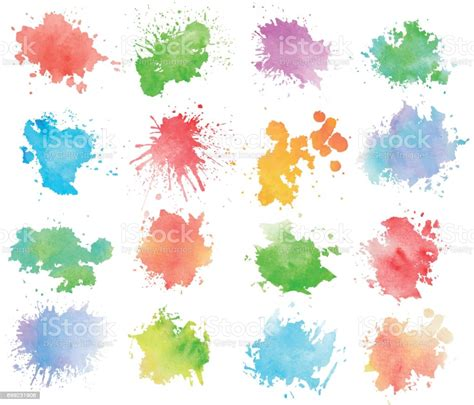 Colorful Watercolor Splashes Stock Illustration Download