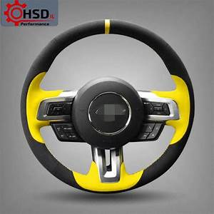 Hand-Stitched Sew Yellow Suede Steering Wheel Cover For ...