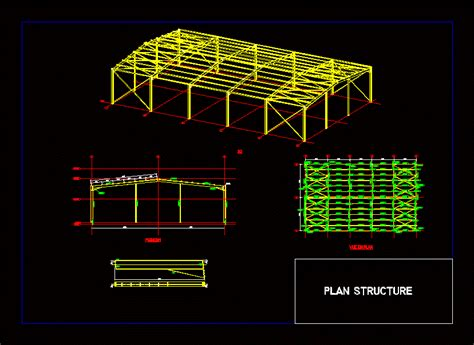 steel shed structure dwg block  autocad designs cad