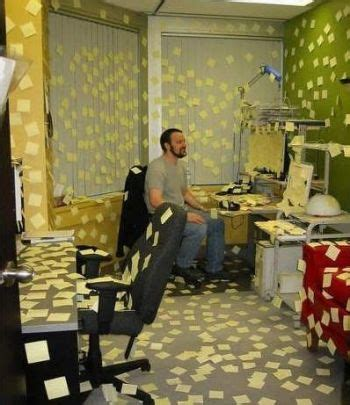 bureau post it office post it notes prank pictures entertainment