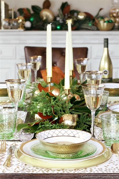 green gold christmas table celebrations  home