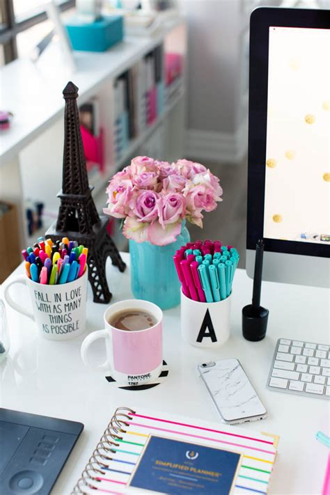 work desk decoration ideas pink and blue desk accessories simplified planner studio