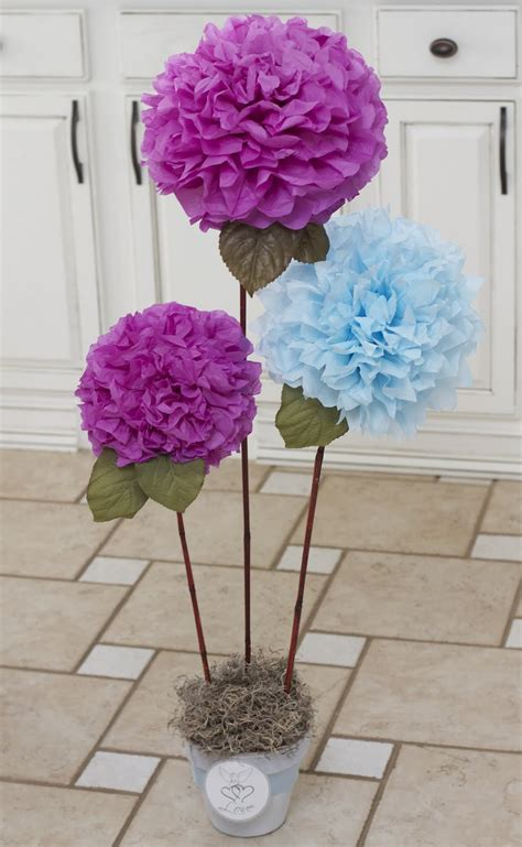 potted paper flower ideas laughter decor cheap chic centerpiece