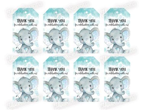 Baby shower is unique celebration for coming birth of a new baby and to celebrate the transformation of a woman into a mother. Elephant Baby Shower Gift Tags Boy Thank You Favor Tags ...