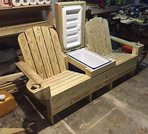 Adirondack bench w built in cooler ready for beer and ice