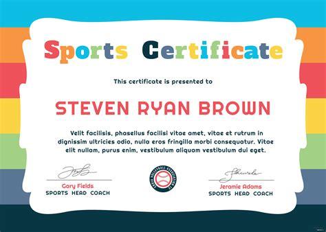 kids sports award certificate template  adobe