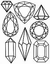 Gem Printable Clipart Crystal Drawing Jewel Printables Christmas Merry Coloring Gems Jewels Template Drawings Crystals Jewelry Freebie Templates Easy Fernunterricht sketch template