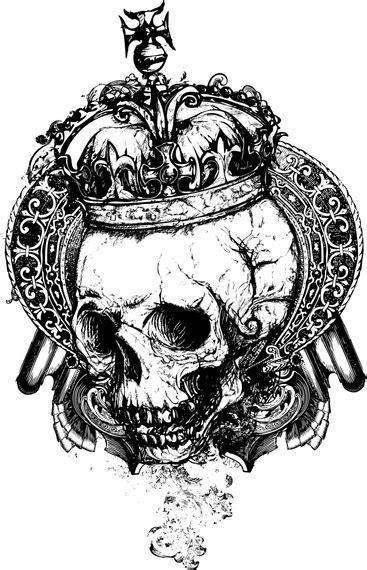 gotik set skull with crown vector