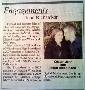 engagement announcement in the paper scott kirsten39s With wedding announcement templates newspaper