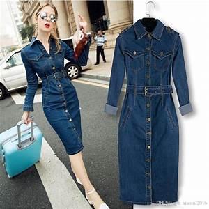 new 2017 women denim long dress slim big size jeans dress With robe en jean grande taille