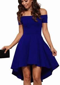 robes de soiree cocktail bleu asymetrique toute la fureur With robe longue épaules dénudées