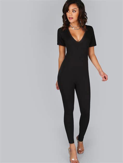 jumpsuit bodycon bodycon sleeve jumpsuit black makemechic com