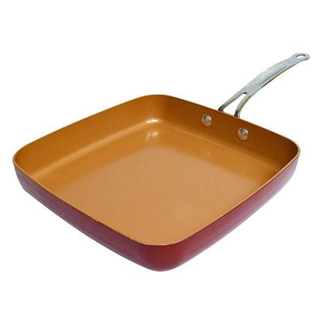 tv red copper   square dance pan