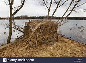Camouflaged Duck Goose Hunting Blind With Decoy Spread