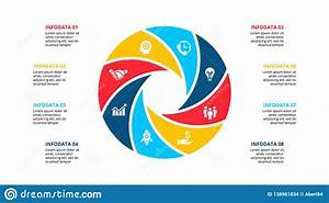 Circle Element For Infographic With 8 Options  Parts Or