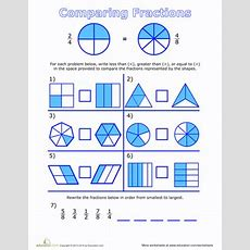 Fraction Fundamentals Comparing Fractions  Worksheet Educationcom