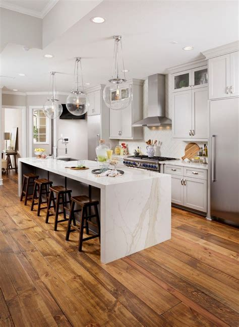 waterfall island kitchen transitional  recessed