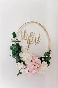 DIY It's A Girl New Baby Floral Embroidery Hoop Wreath