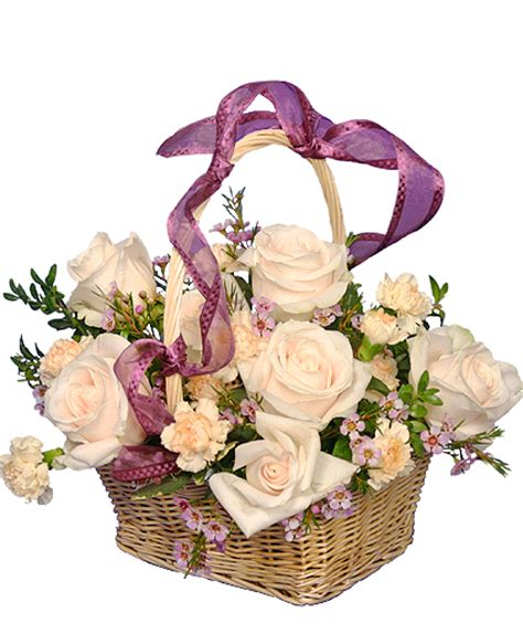 garden basket ivory roses arrangement in san antonio