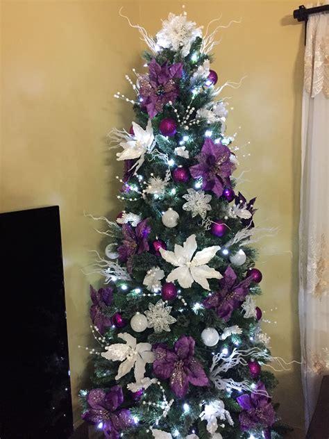 purple  white christmas tree decorations purple