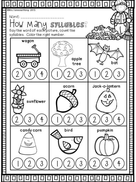 Download Free Printables At Preview How Many Syllables Fall Math And Literacy No Prep