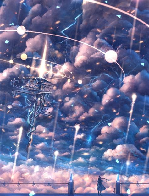Anime Lightning Wallpaper - sky clouds lightning original characters anime