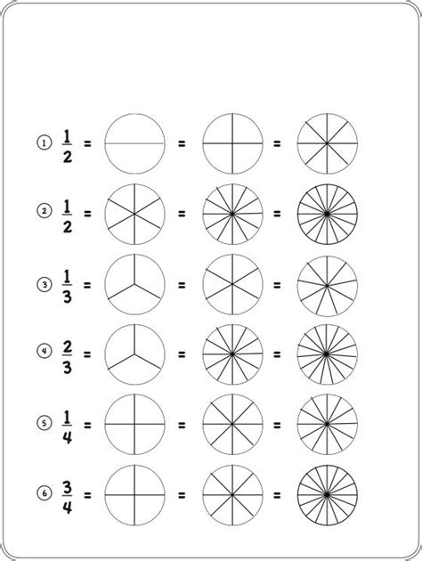 free equivalent fractions coloring pages
