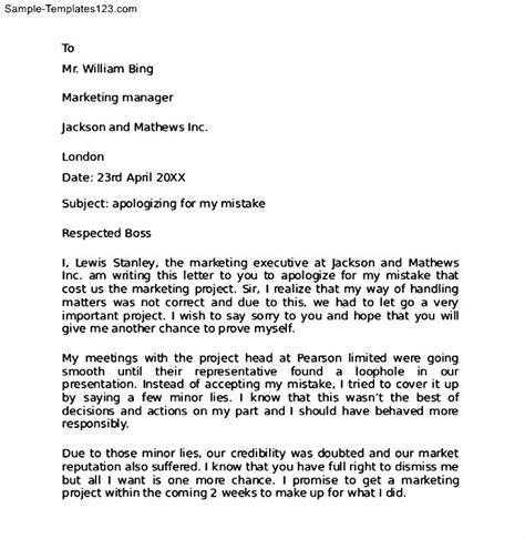 work apology letter  boss sample templates sample