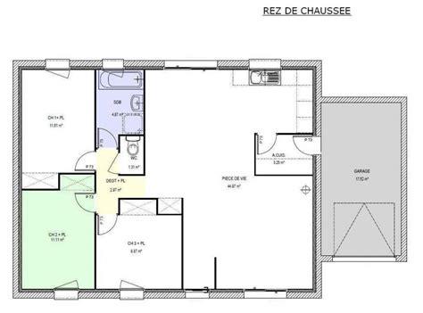 plan maison plain pied 3 chambres 90m2