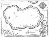 Printable Pirate Treasure Map Coloring sketch template