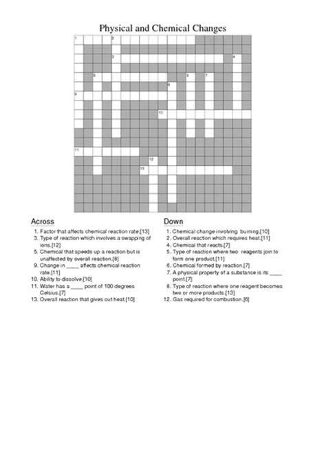 physical  chemical  crossword worksheet