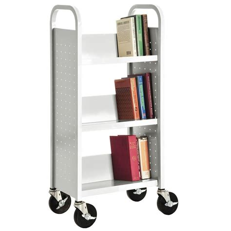 White Bookcase by Sandusky White Mobile Steel Bookcase Sl33017 22 The Home
