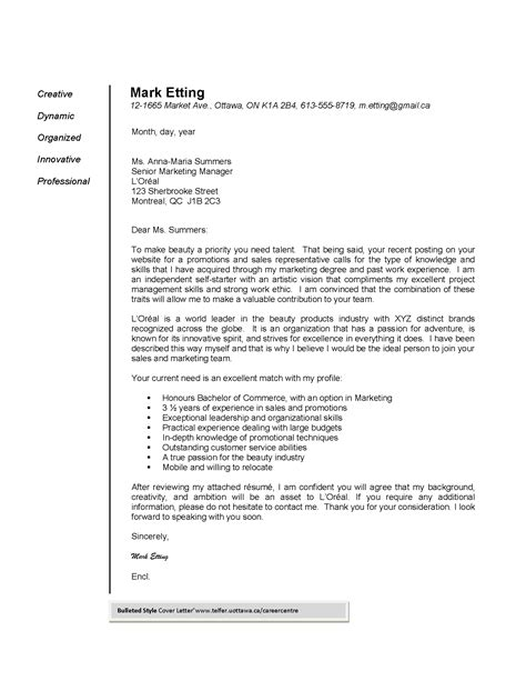 A motivation letter clearly defines the reason you are applying for a particular vacancy in this article, we'll discuss the letter of motivation. Marketing Cover Letter Bulleted Style Cover Letter Example - wikiresume.com