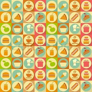 Seamless Background - Food Labels in Retro Style - Flat ...