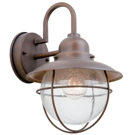 hton bay 1 light outdoor wall lantern in bronze with