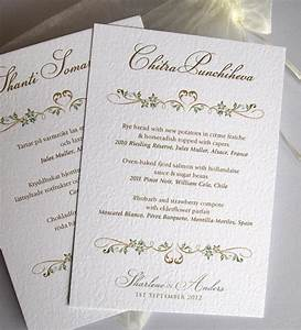 personalized menu card cards on formal wedding invitation With custom wedding invitation printing uk