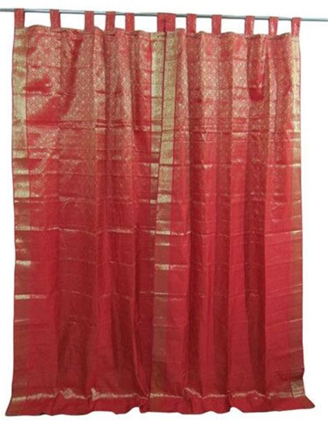 2 india saree curtain raspberry gold brocade silk sari