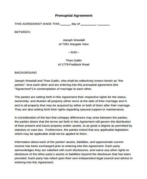 agreement prenuptial form sample forms