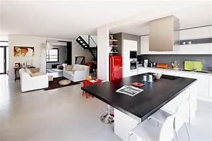 Deco Piece A Vivre Avec Cuisine Ouverte : grande pi ce vivre lumineuse dominante blanc archi ~ Premium-room.com Idées de Décoration