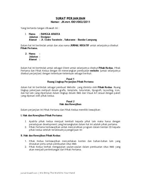 Contoh Surat Perjanjian Kerjasama Pembuatan Website - Kumpulan Surat Penting