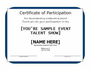 talent show certificate template - excellent performance certificate document hub