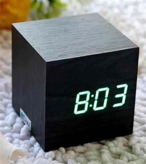 cube mini led wooden digital alarm clock fancycom