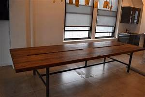 Handmade Reclaimed Wood Conference Table With Pipe Legs By