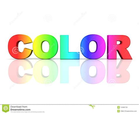 color word the word color in rainbow colors stock photos image