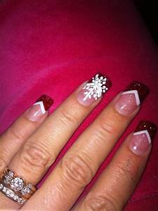 Red and white Christmas a acrylic nails | Nails | Pinterest